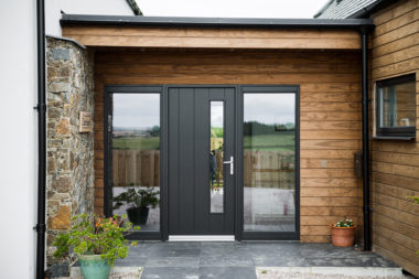 Modern Grey Door with Sidelights