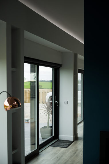 Grey Sliding Patio Door